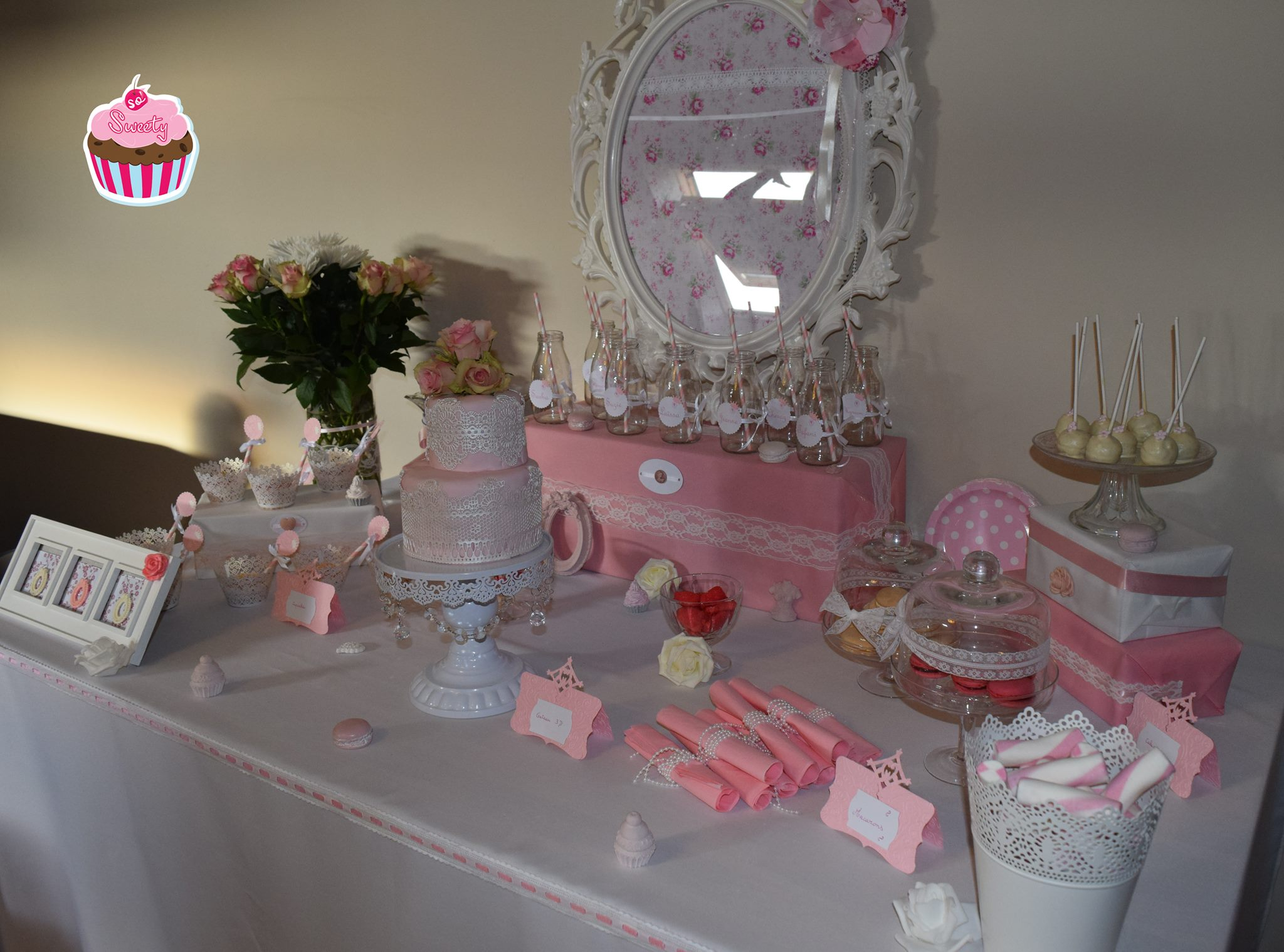 La sweet table rose de So'Sweety